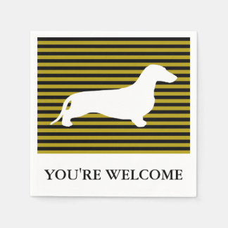 Dachshund silhouette white + your ideas paper napkins