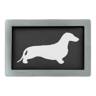 Dachshund silhouette white + your ideas rectangular belt buckle