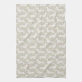 Dachshund Silhouettes Pattern Kitchen Towel