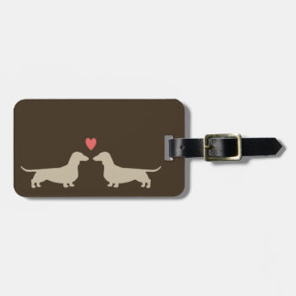 Dachshund Silhouettes with Heart and Custom Text Luggage Tag