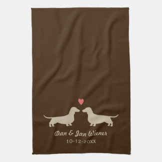 Dachshund Silhouettes with Heart and Text Kitchen Towel
