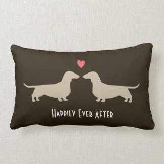 Dachshund Silhouettes with Heart and Text Lumbar Pillow