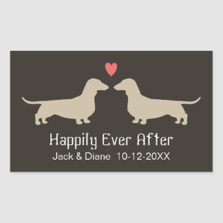 Dachshund Silhouettes with Heart and Text Sticker