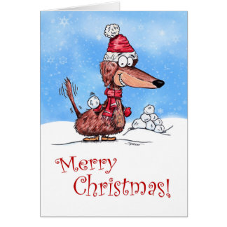 Dachshund Snowball Merry Christmas Card