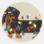 Dachshund Tangled In Christmas Lights Blk/Tan Sticker