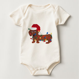 Dachshund Tangled In Christmas Lights (Red) Bodysuit