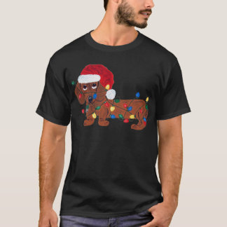 Dachshund Tangled In Christmas Lights (Red) T-Shirt