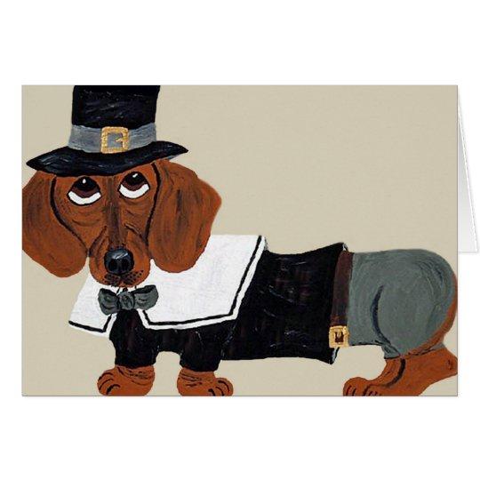 Dachshund Thanksgiving Pilgrim Card
