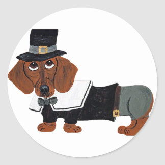 Dachshund Thanksgiving Pilgrim Classic Round Sticker