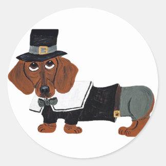 Dachshund Thanksgiving Pilgrim Round Sticker
