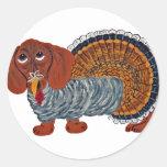Dachshund Thanksgiving Turkey Round Sticker