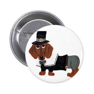 Dachshund Thanksgviving Pilgrim Button