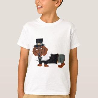 Dachshund Thanksgviving Pilgrim Tee Shirts