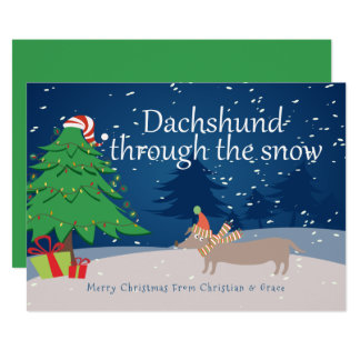 Dachshund Through The Snow Christmas Personalized Card