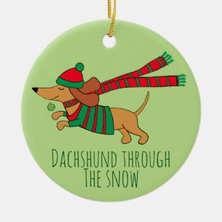 Dachshund Through the Snow Circle Ornament