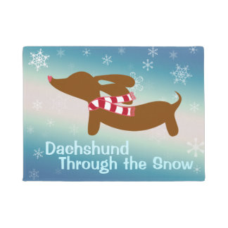 Dachshund Through the Snow Doormat Door Mat
