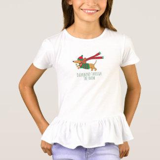 Dachshund Through the Snow Girls' Ruffle T-Shirt