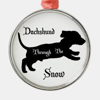 Dachshund through the snow metal ornament