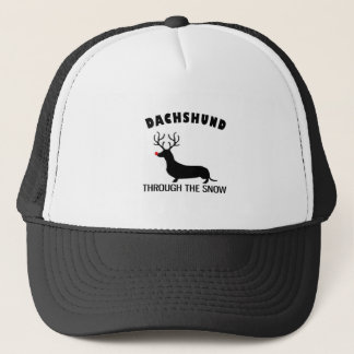 dachshund through the snow trucker hat