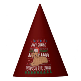 Dachshund Through The Snow Ugly Christmas Sweater Party Hat