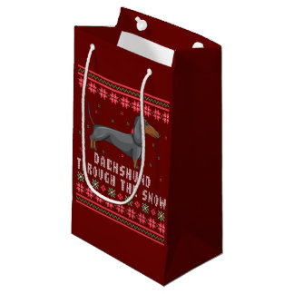 Dachshund Through The Snow Ugly Christmas Sweater Small Gift Bag