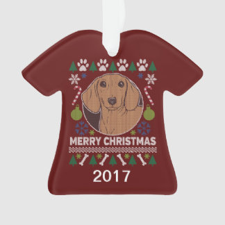 Dachshund Ugly Christmas Sweater Ornament