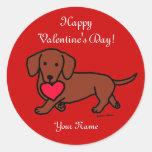 Dachshund Valentine Cartoon Stickers