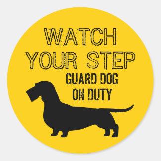 Dachshund Watch Your Step (Wire Haired Doxie) Round Sticker