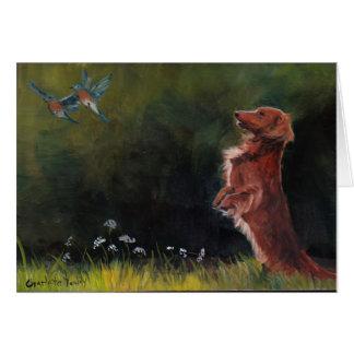 Dachshund Watching Bluebirds Dog Art Note Card