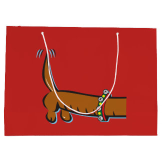 Dachshund wearing Santa Antlers for Christmas Large Gift Bag