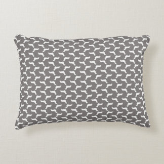 Dachshund White Silhouettes on Dove Grey Accent Pillow