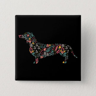 Dachshund Wiener Dog Floral Pattern Watercolor Art 2 Inch Square Button