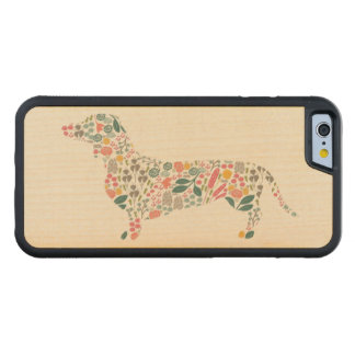 Dachshund Wiener Dog Floral Pattern Watercolor Art Carved Maple iPhone 6 Bumper Case