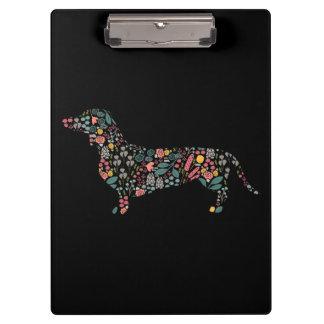 Dachshund Wiener Dog Floral Pattern Watercolor Art Clipboard