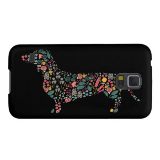 Dachshund Wiener Dog Floral Pattern Watercolor Art Galaxy S5 Cover