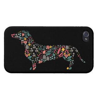 Dachshund Wiener Dog Floral Pattern Watercolor Art iPhone 4 Case