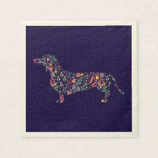 Dachshund Wiener Dog Floral Pattern Watercolor Art Paper Napkin