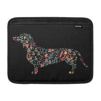 Dachshund Wiener Dog Floral Pattern Watercolor Art Sleeve For MacBook Air