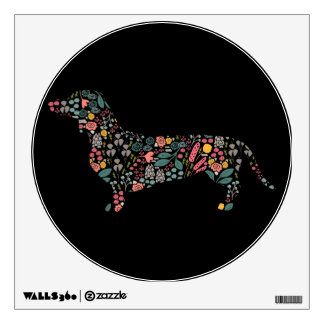 Dachshund Wiener Dog Floral Pattern Watercolor Art Wall Decal