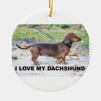 dachshund-wild boar full love w pic ceramic ornament