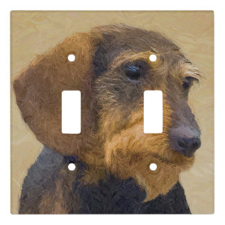 Dachshund (Wirehaired) Painting Original Dog Art Light Switch Cover