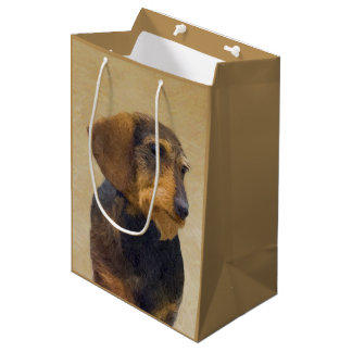 Dachshund (Wirehaired) Painting Original Dog Art Medium Gift Bag