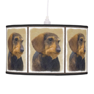 Dachshund (Wirehaired) Painting Original Dog Art Pendant Lamp