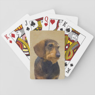 Dachshund (Wirehaired) Painting Original Dog Art Playing Cards