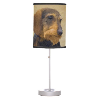 Dachshund (Wirehaired) Painting Original Dog Art Table Lamp