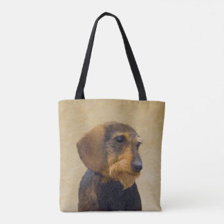Dachshund (Wirehaired) Painting Original Dog Art Tote Bag