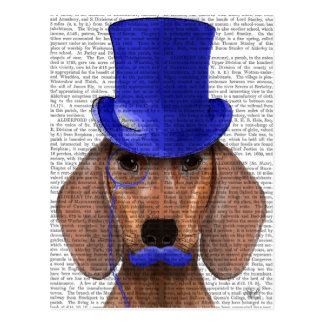 Dachshund With Blue Top Hat and Blue Moustache Postcard
