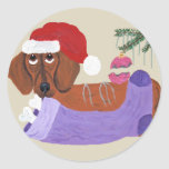 Dachshund With Christmas Stocking Sticker