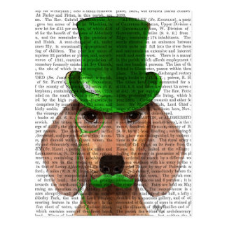 Dachshund With Green Top Hat and Moustache Postcard