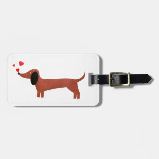 Dachshund with little red hearts luggage tag